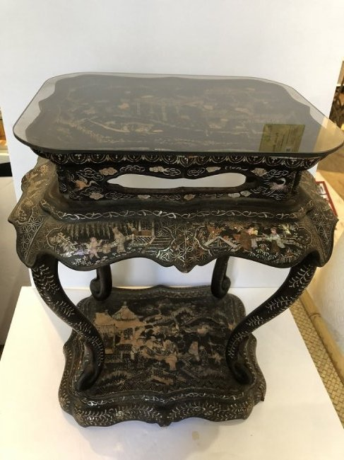 Chinese inlaid table, wood & mother of pearl, c.1900