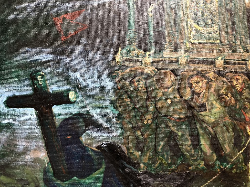 Xavier Gonzalez ptg of night procession, circa 1950 - 4