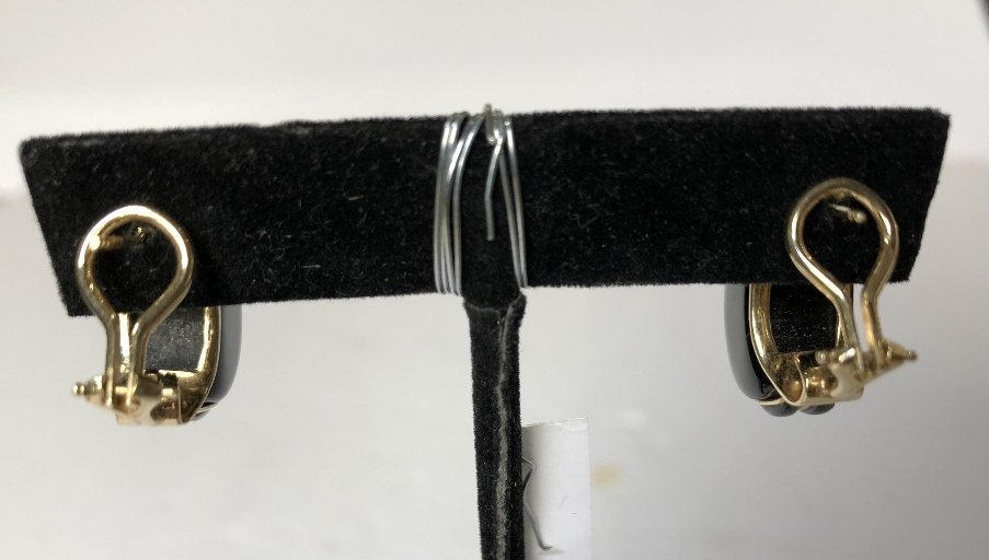 14k black onyx earrings. 6.8 dwts - 3