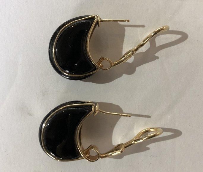 14k black onyx earrings. 6.8 dwts - 4