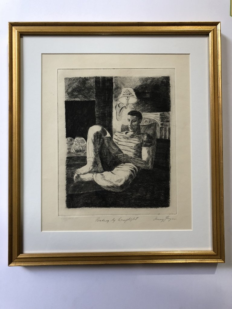 Engraving of boy reading by Irving Guyer