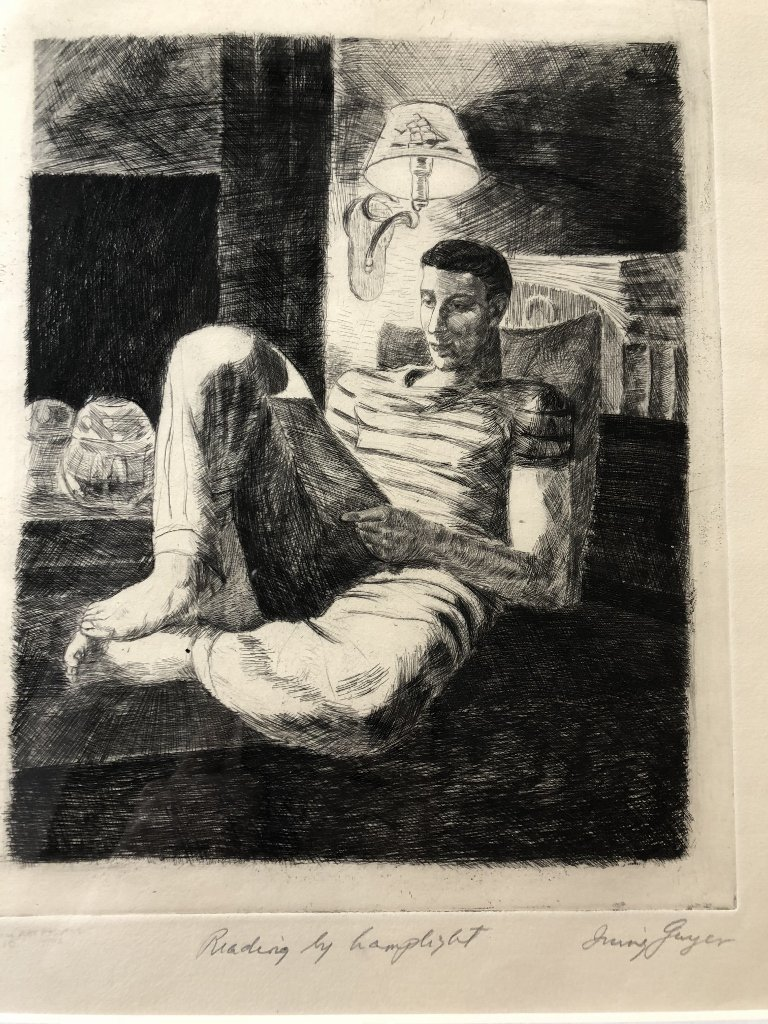 Engraving of boy reading by Irving Guyer - 3
