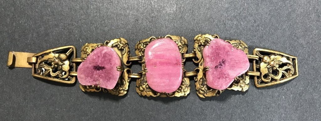 Gilt copper pink tourmaline Chinese bracelet, c.1920