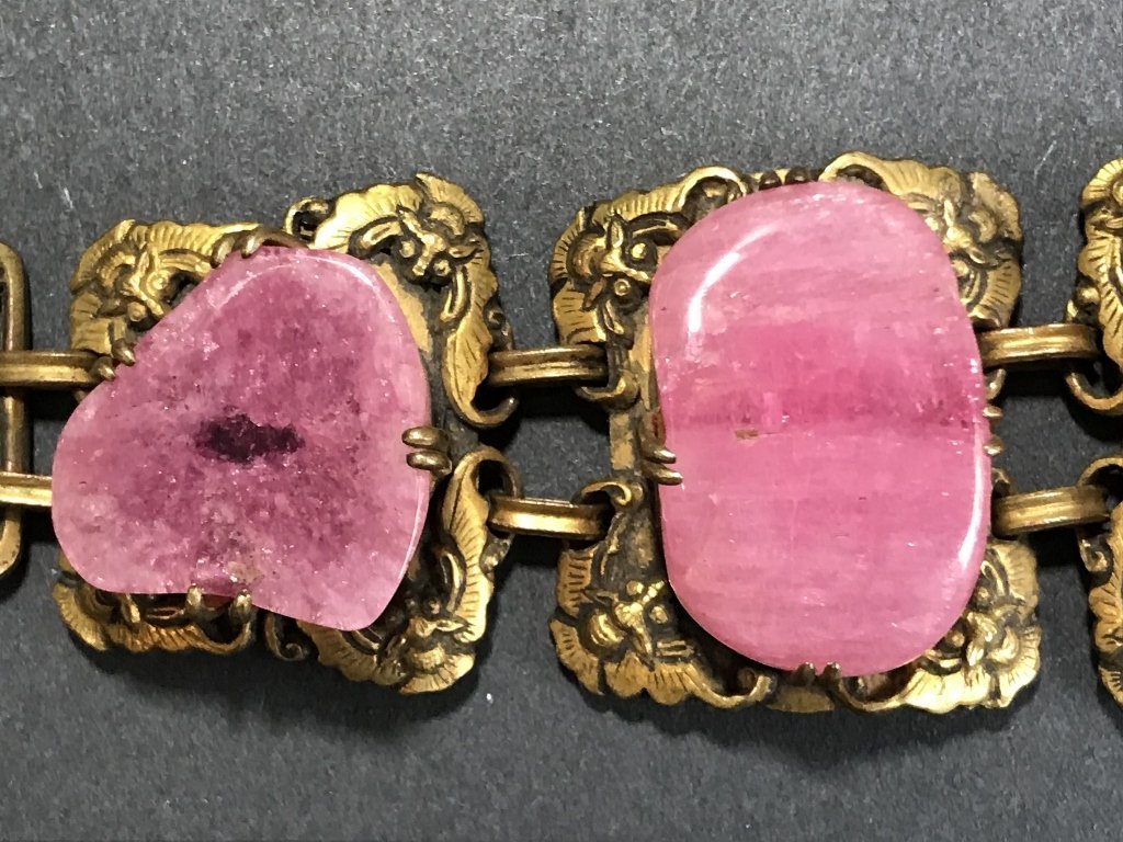 Gilt copper pink tourmaline Chinese bracelet, c.1920 - 2