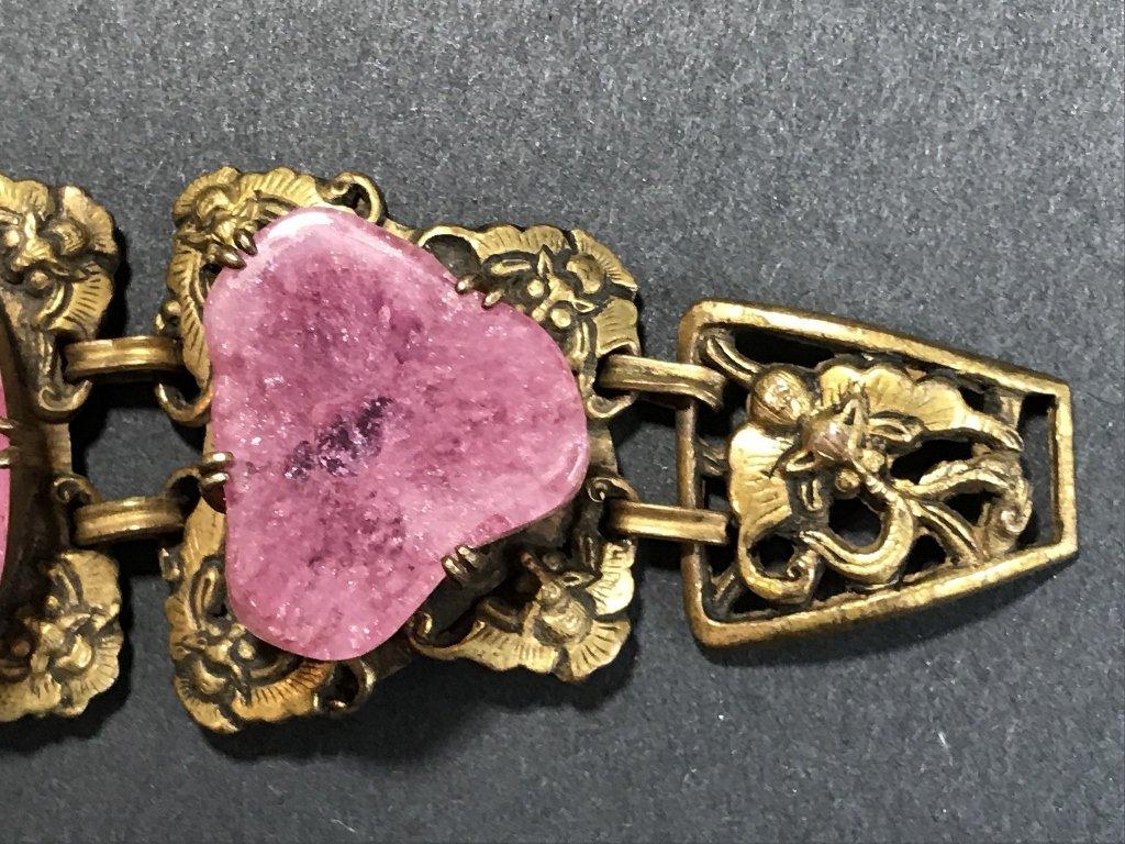 Gilt copper pink tourmaline Chinese bracelet, c.1920 - 3