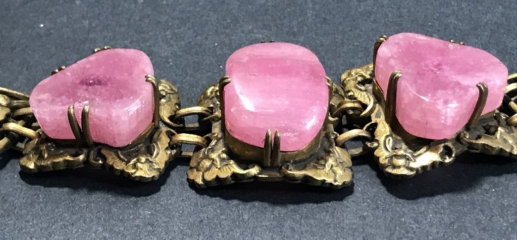 Gilt copper pink tourmaline Chinese bracelet, c.1920 - 4