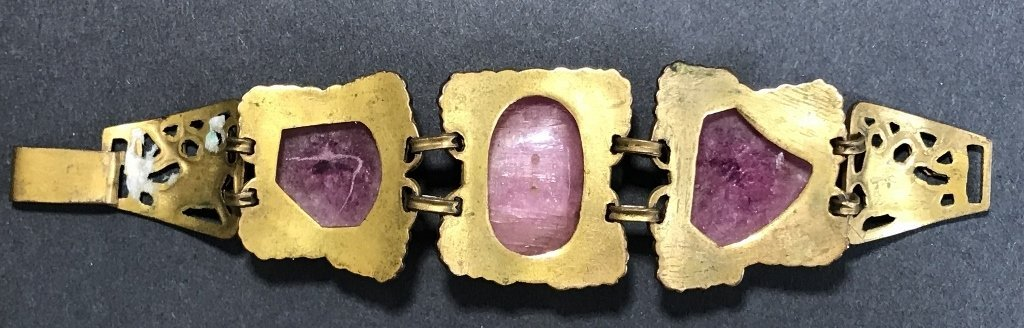 Gilt copper pink tourmaline Chinese bracelet, c.1920 - 5