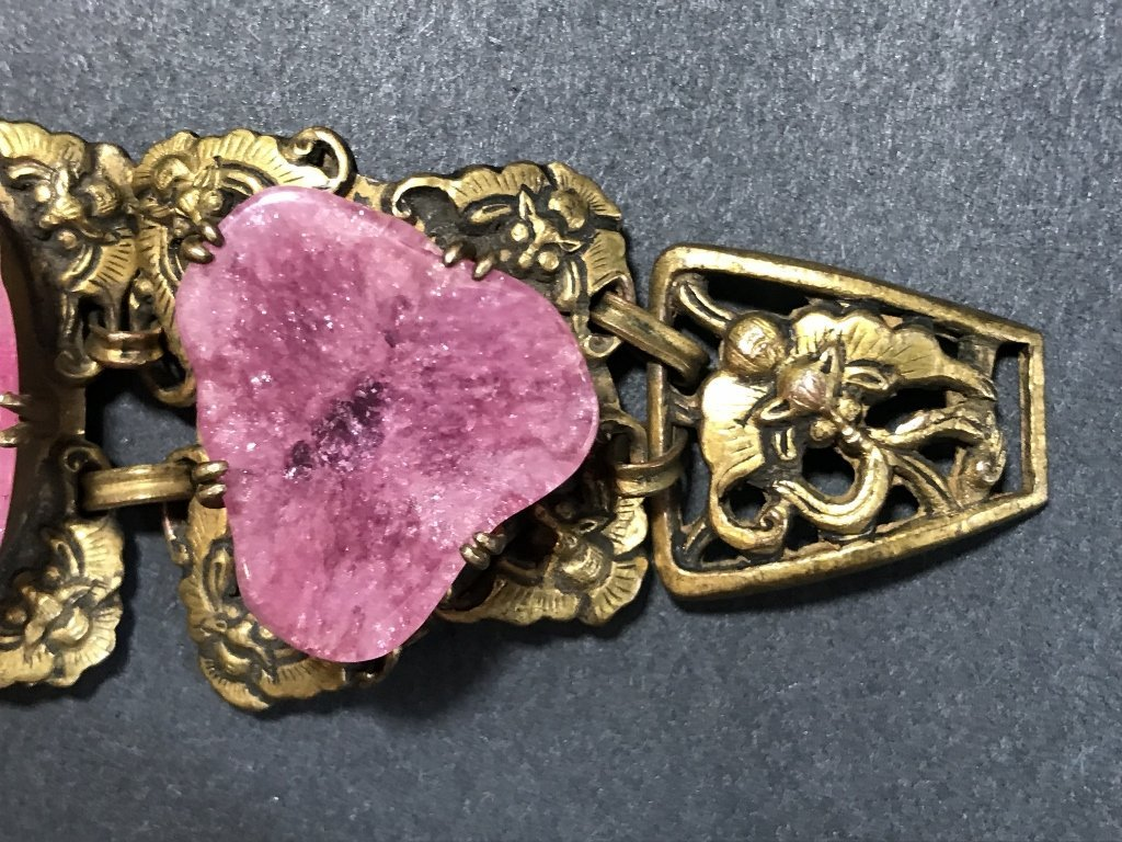 Gilt copper pink tourmaline Chinese bracelet, c.1920 - 7