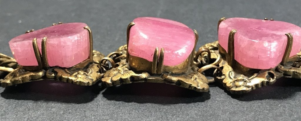 Gilt copper pink tourmaline Chinese bracelet, c.1920 - 8