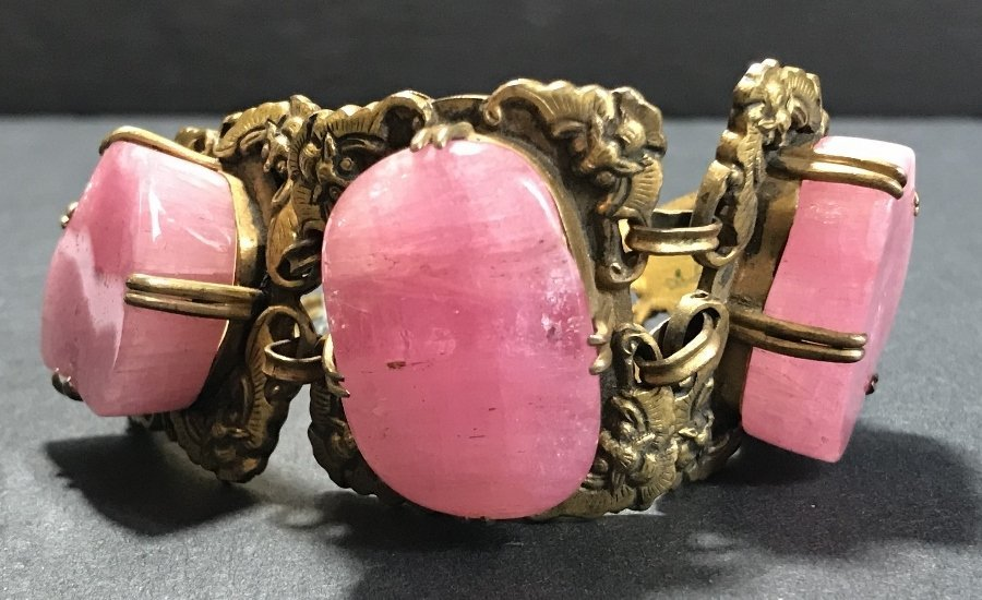 Gilt copper pink tourmaline Chinese bracelet, c.1920 - 9