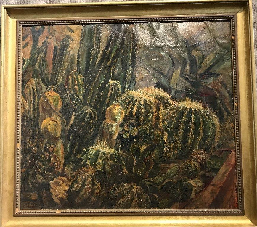 Ptg on board of cactus by Karoly Kernstok, circa 1920