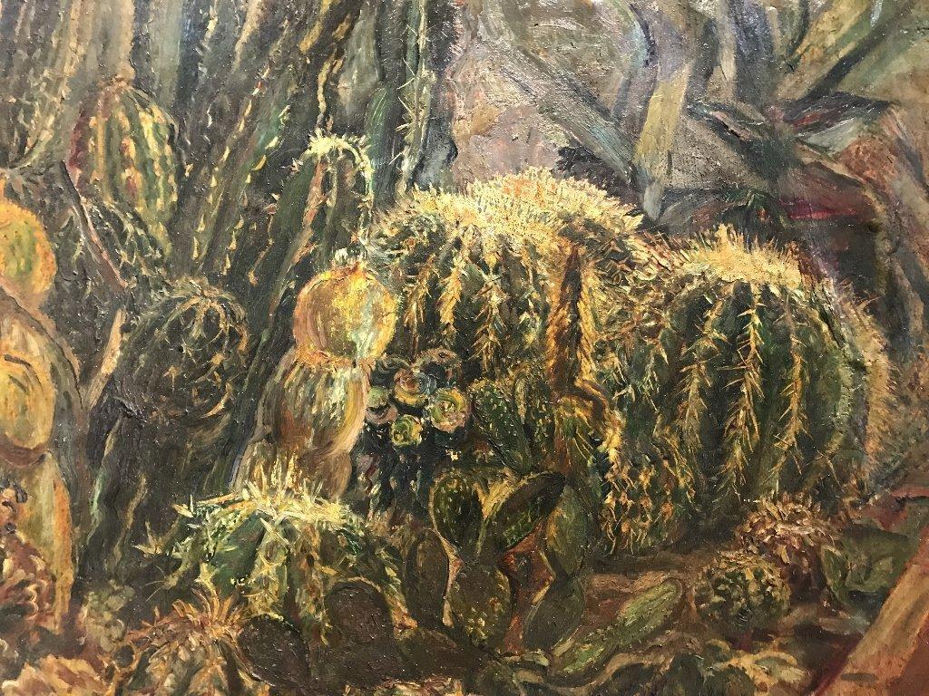 Ptg on board of cactus by Karoly Kernstok, circa 1920 - 2