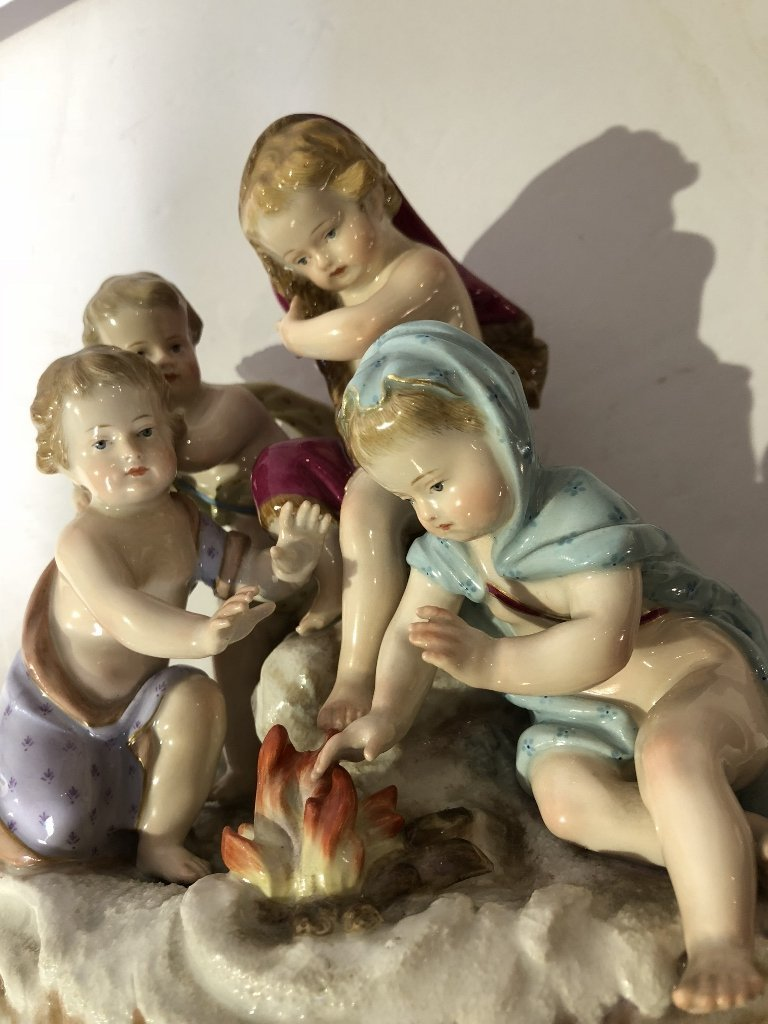 Meissen figurine, Invention of Fire, c.1900 - 4