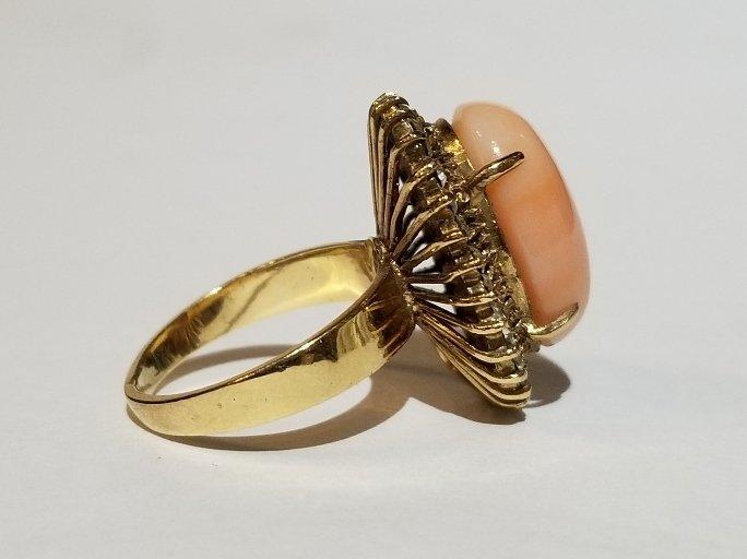 14k coral and diamond ring, circa 1965 - 2