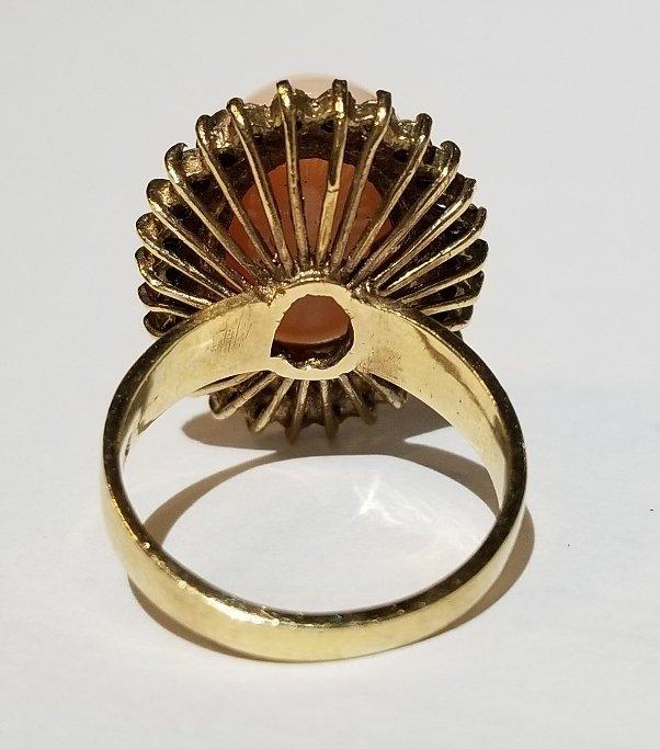 14k coral and diamond ring, circa 1965 - 3