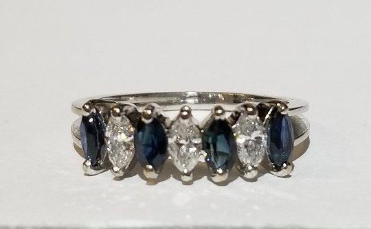18k white gold marquise diamond & sapphire ring, c1975 - 2