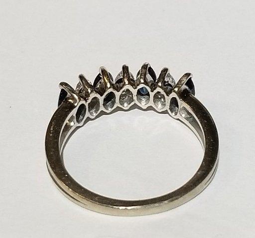 18k white gold marquise diamond & sapphire ring, c1975 - 3