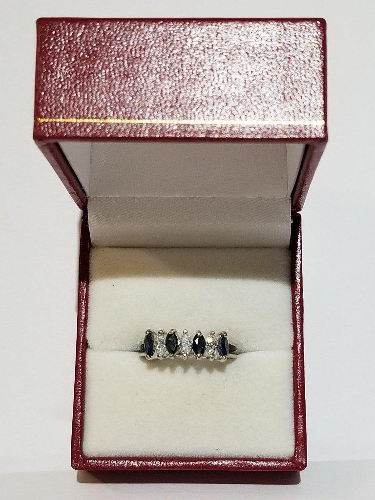 18k white gold marquise diamond & sapphire ring, c1975 - 6