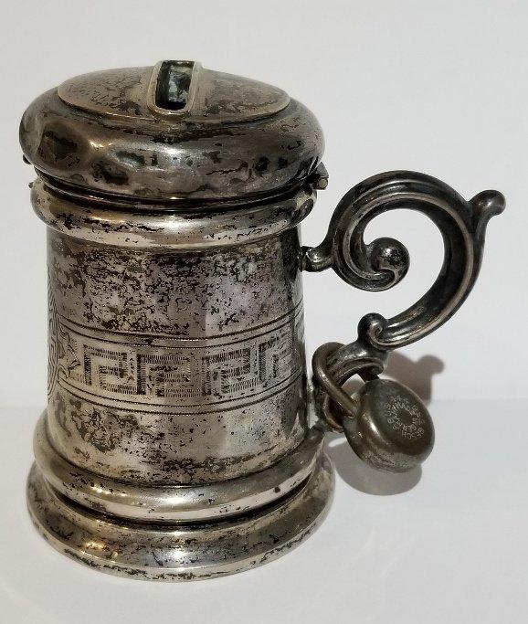 Silver Judaica charity box, c.1900