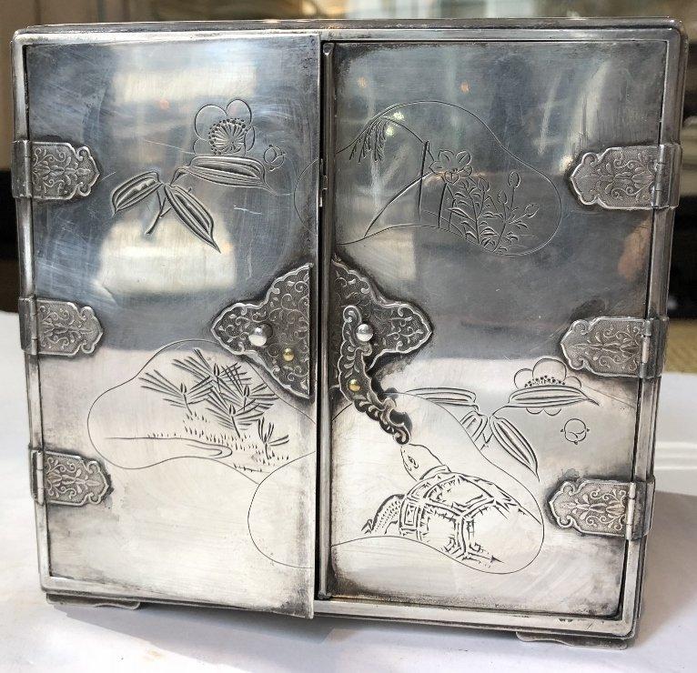 Japanese silver kodansu by Miyamoto - 3