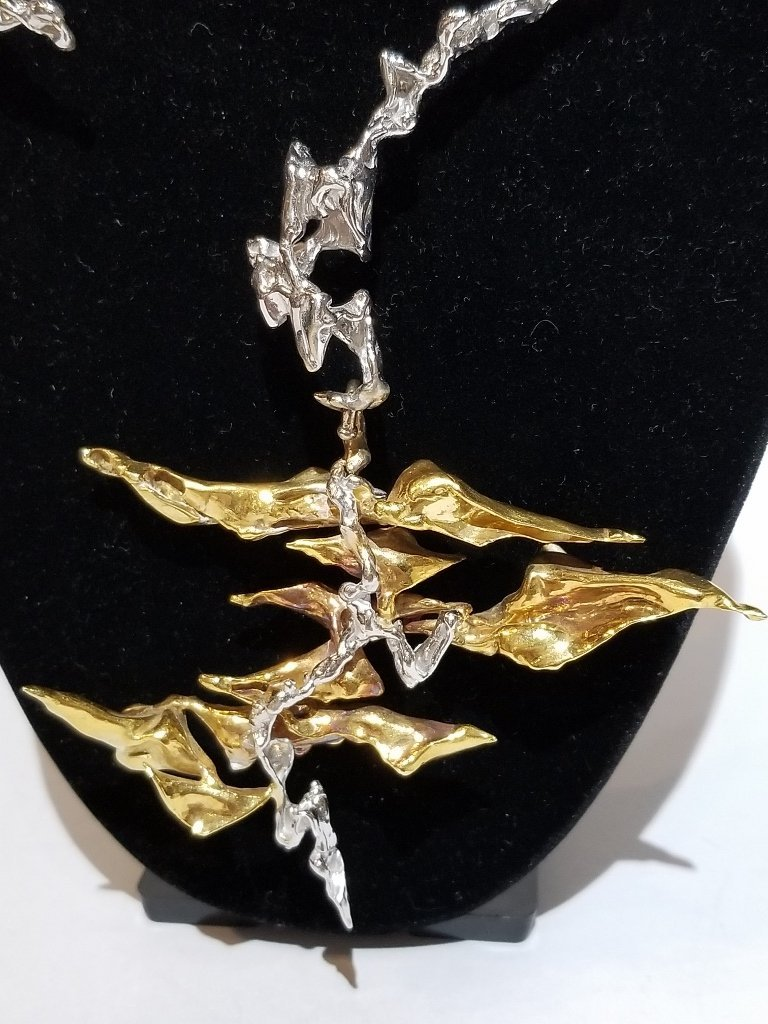 Rare 18k  gold modern necklace by Sterle, circa 1960 - 2