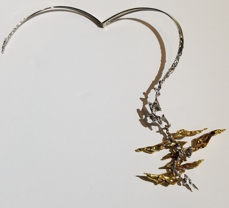 Rare 18k  gold modern necklace by Sterle, circa 1960 - 7