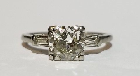 Platinum and diamond .78ct carat ring, 1930s