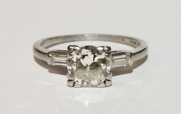 Platinum and diamond .78ct carat ring, 1930s - 2