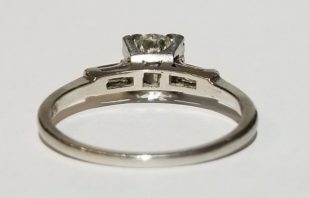 Platinum and diamond .78ct carat ring, 1930s - 3
