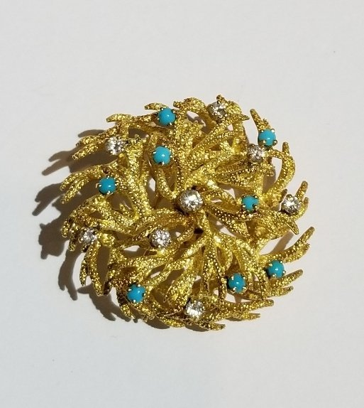 18k diamond and turquoise brooch, circa 1950