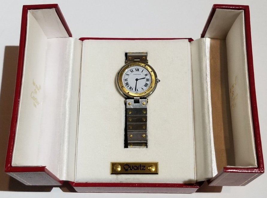 Cartier stainless and 18k gold watch in box
