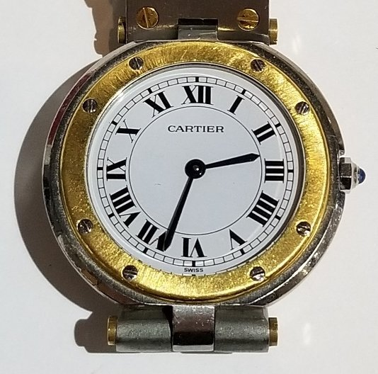 Cartier stainless and 18k gold watch in box - 6