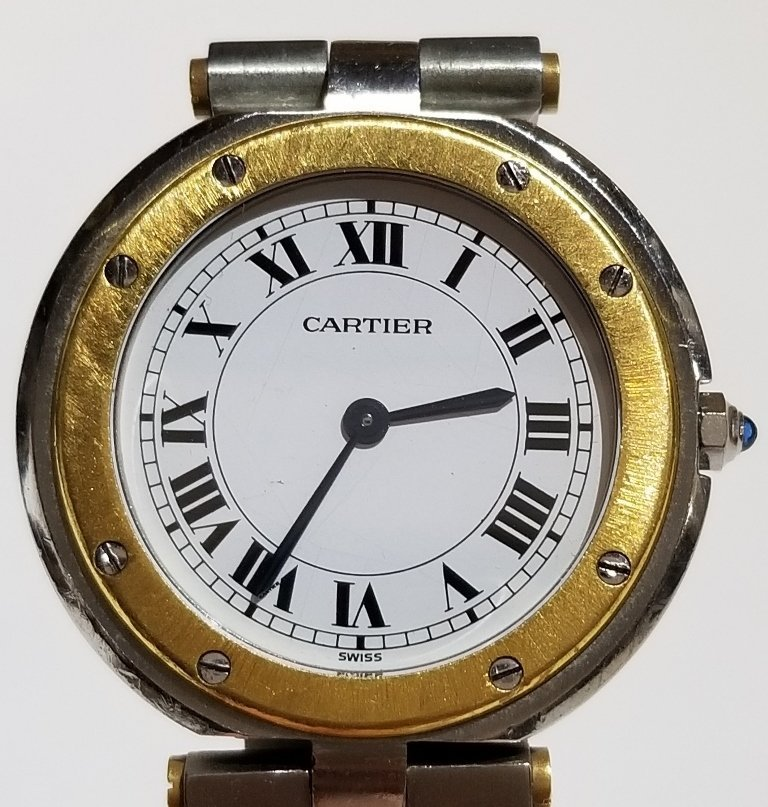 Cartier stainless and 18k gold watch in box - 7