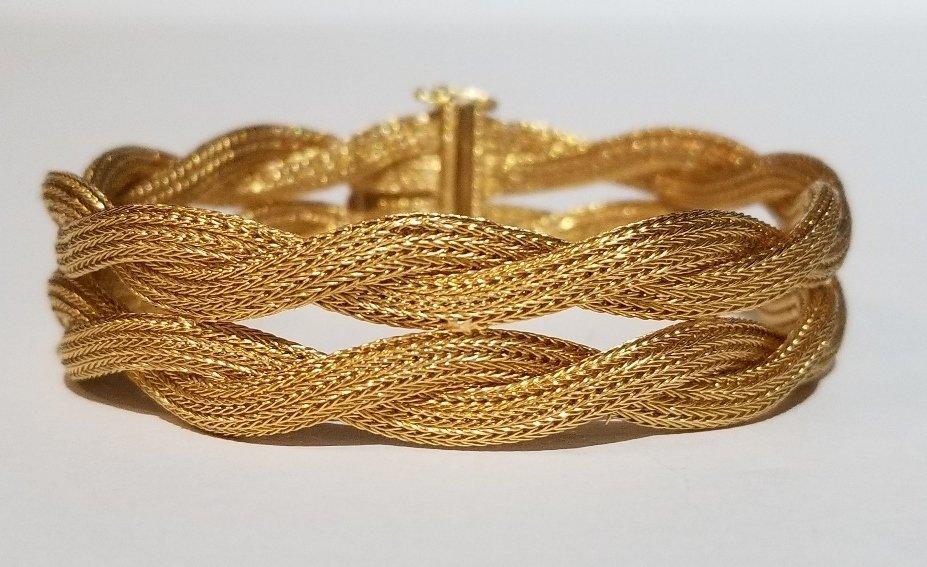 18k Italian braided gold bracelet, 19.5 dwts
