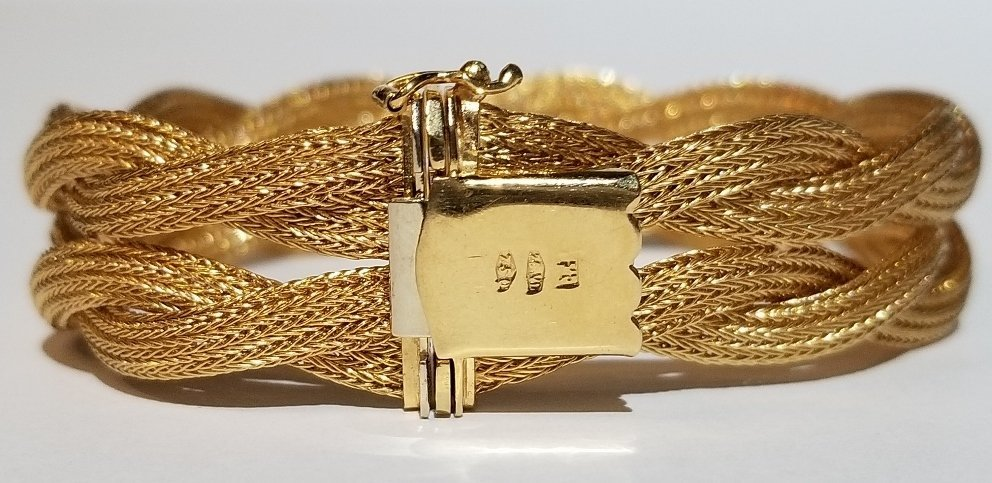 18k Italian braided gold bracelet, 19.5 dwts - 2