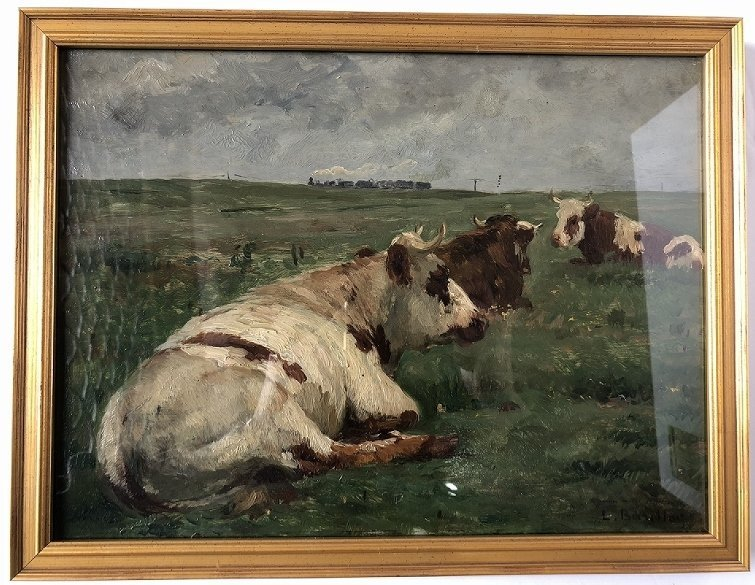 Impressionist ptg of cows & train, Leon Barillot,c.1885