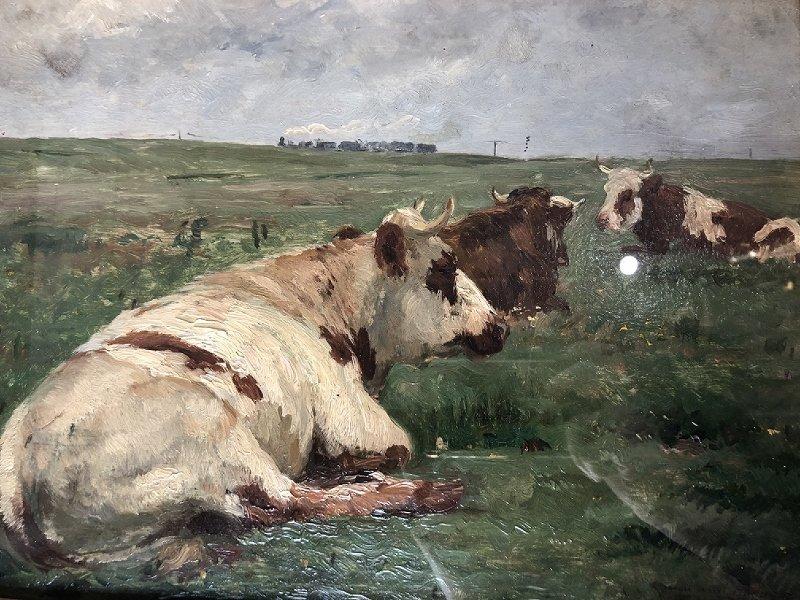 Impressionist ptg of cows & train, Leon Barillot,c.1885 - 2