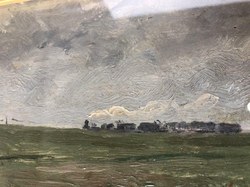 Impressionist ptg of cows & train, Leon Barillot,c.1885 - 4