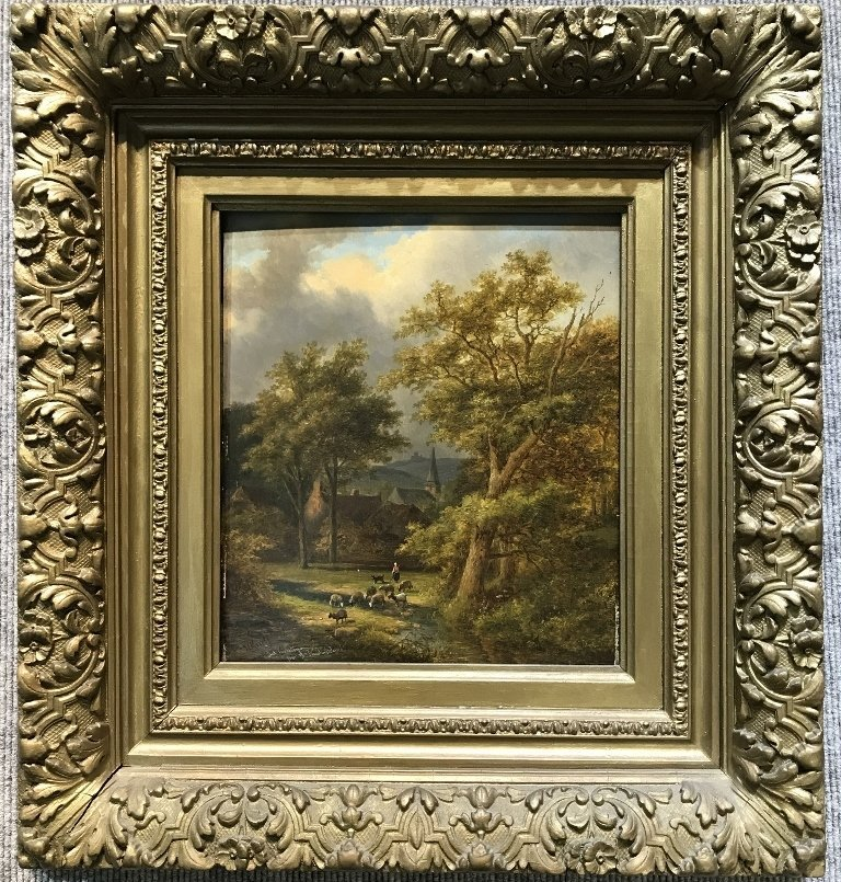 Landscape painting by J.E.Morel the Younger, c1880