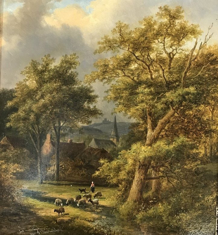 Landscape painting by J.E.Morel the Younger, c1880 - 2