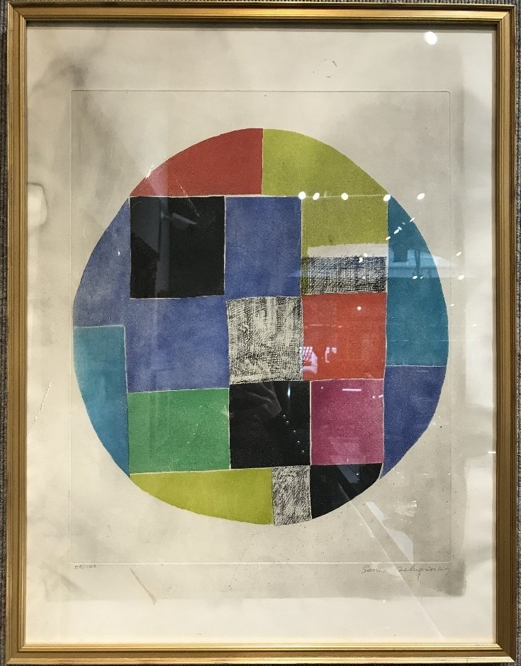 Lithograph by Sonia Delaunay-smoke damage