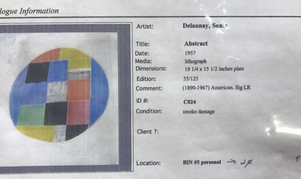 Lithograph by Sonia Delaunay-smoke damage - 6