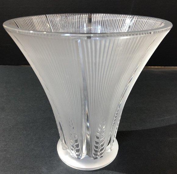 """Lalique deco vase, """"Epis"""", acid etched """"Lalique France"""""""