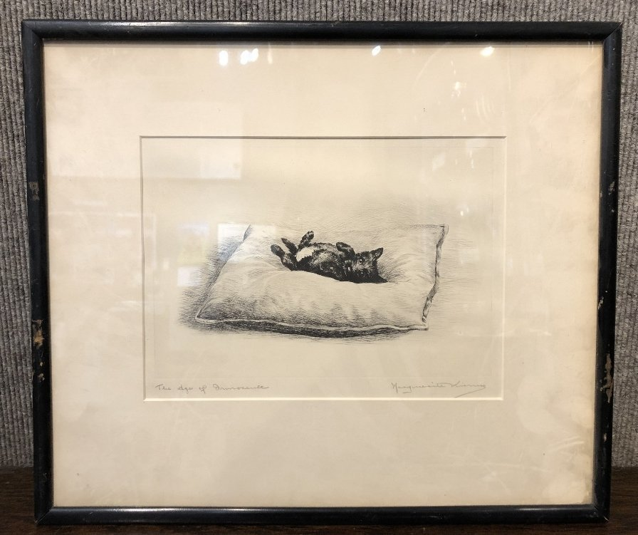 """Age of Innocence"" dog etching by Marguerite Kirmse"