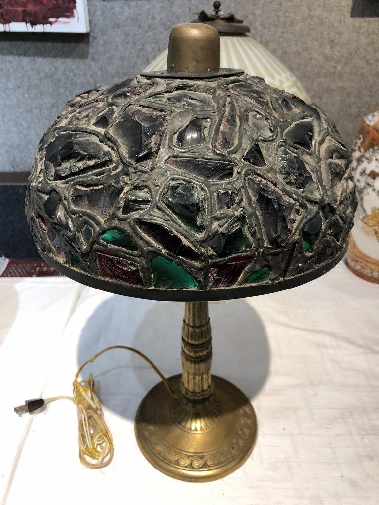 Miller leaded chunk glass lamp, c.1910