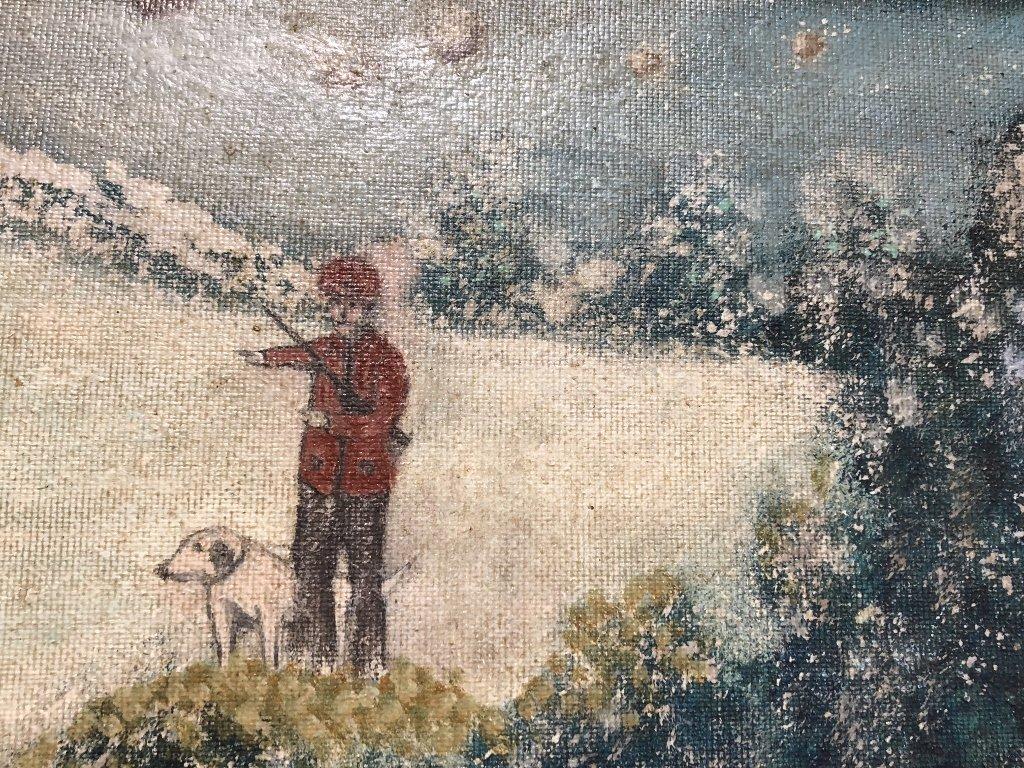 Folk art painting man, dog,snow, circa 1900, signed HW - 5