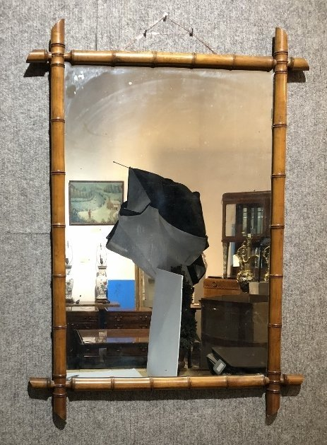 Faux bamboo wood mirror