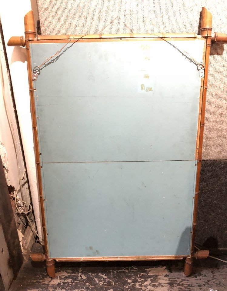 Faux bamboo wood mirror - 4