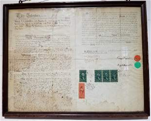 Framed land indenture deed w/stamps, c.1871