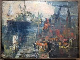 """Ptg of wharf by Xavier Gonzalez. titled:""""Wellfleet"""" sgd"""